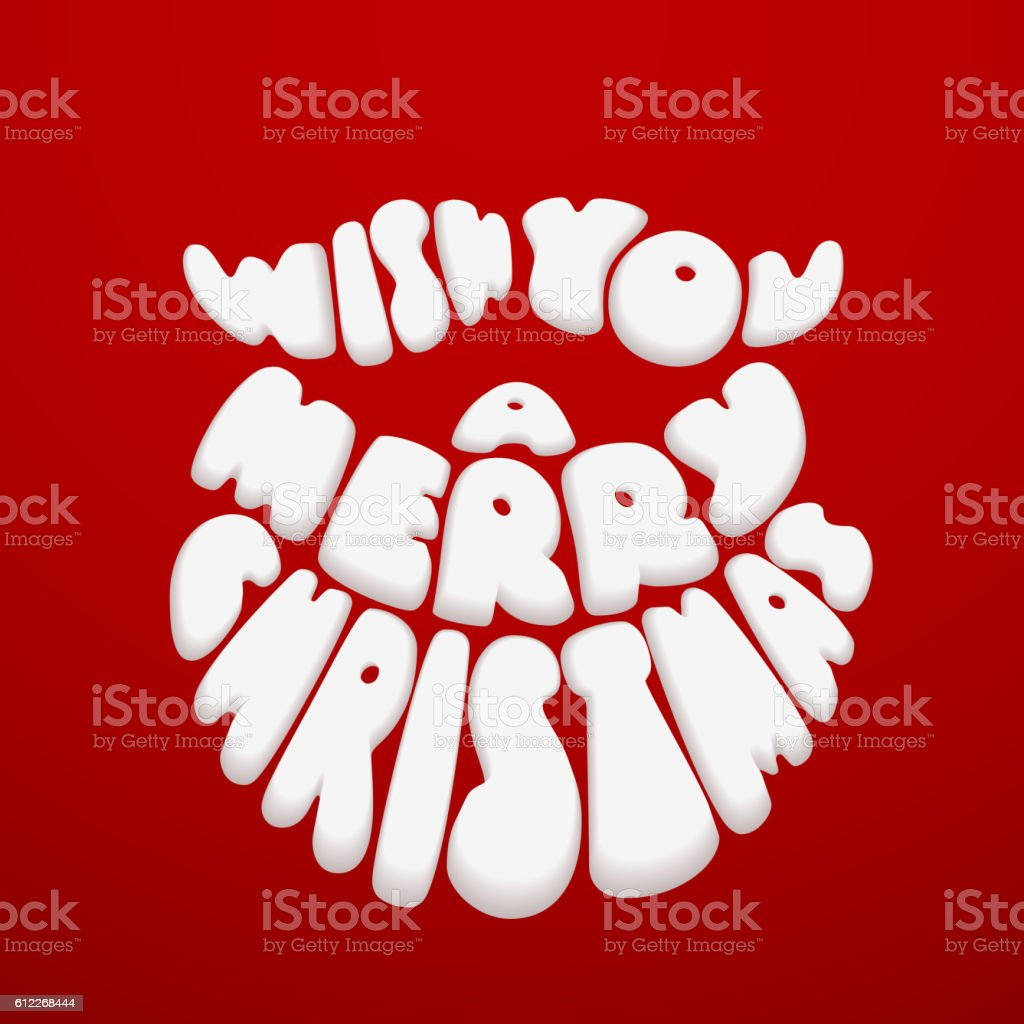 Merry Christmas. Lettering with Santa Claus beard on red background vector art illustration