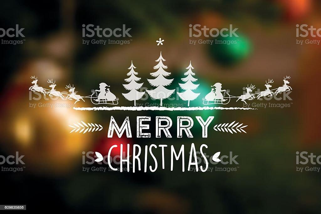 merry christmas line illustration on blurred background vector art illustration