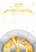 Merry Christmas, New year flyer. Greeting card clock design
