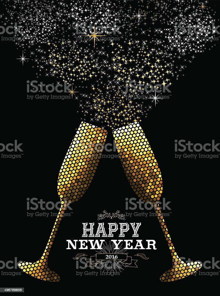 Merry christmas new year glass toast gold mosaic vector art illustration