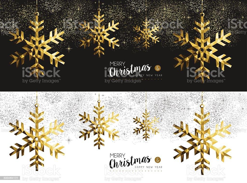 Merry christmas new year social media banner gold vector art illustration