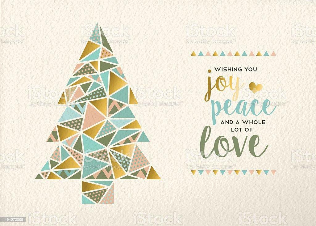 Merry christmas new year triangle tree gold retro vector art illustration