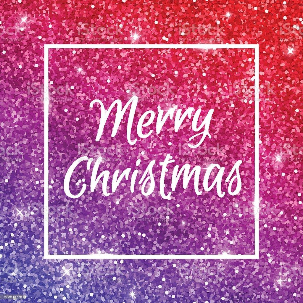 Merry Christmas on red purple glitter. Vector vector art illustration