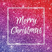Merry Christmas on red purple glitter. Vector