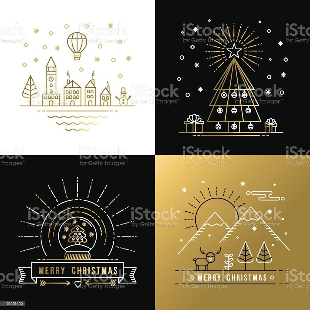 Merry christmas outline gold set label city xmas vector art illustration