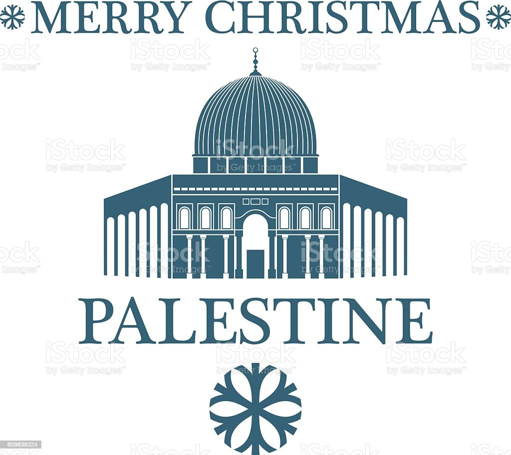 Merry Christmas  Palestine vector art illustration