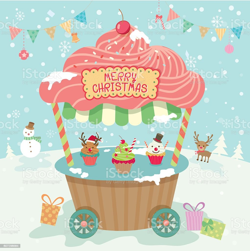 merry christmas party booth vector art illustration