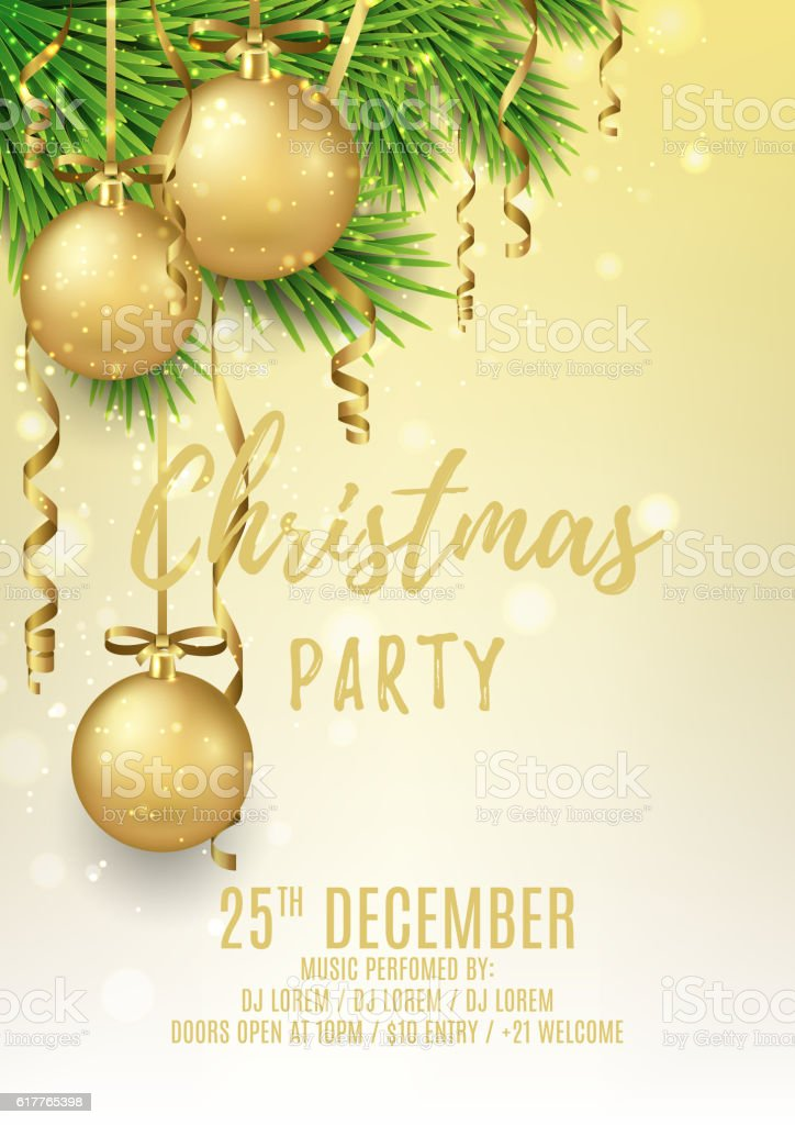 Merry Christmas party flyer. Gift card. royalty-free stock vector art
