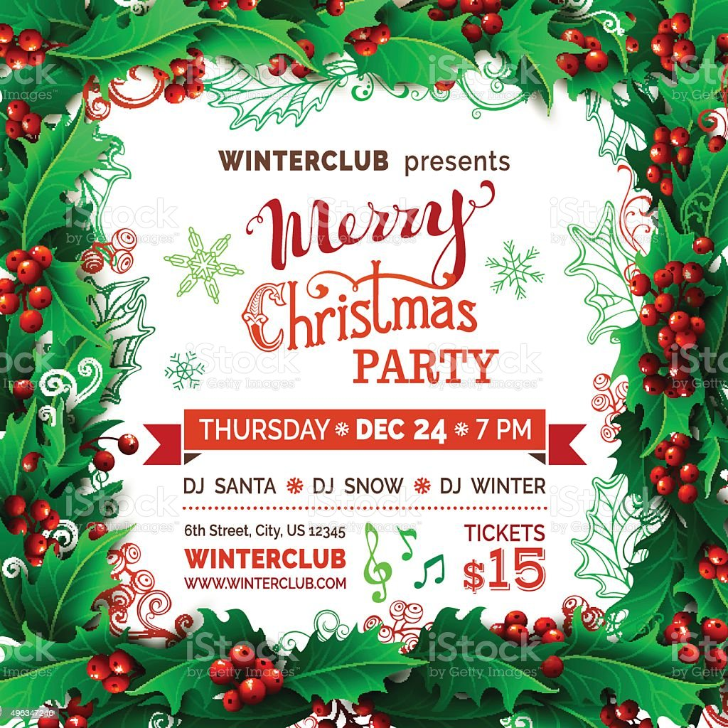 Merry Christmas Party Template. vector art illustration