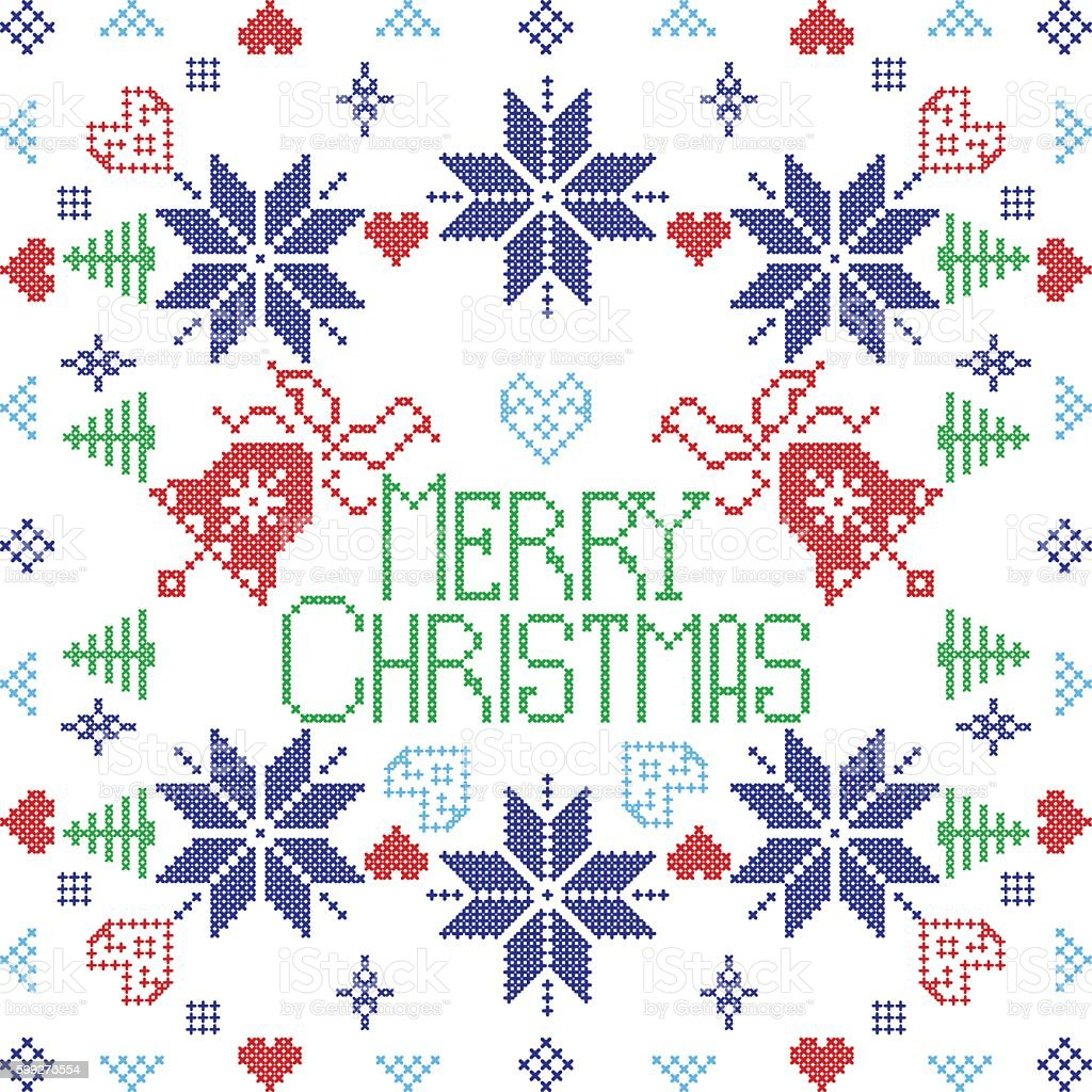 Merry Christmas pattern including bells, hearts, trees, snowflakes vector art illustration
