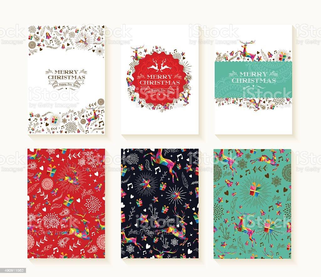 Merry christmas pattern reindeer greeting card set vector art illustration