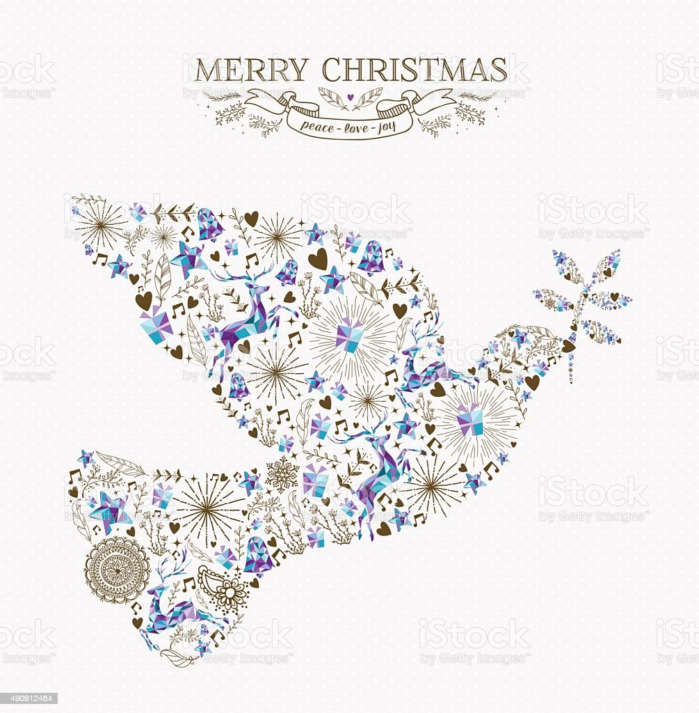 Merry christmas peace dove vintage holiday element vector art illustration