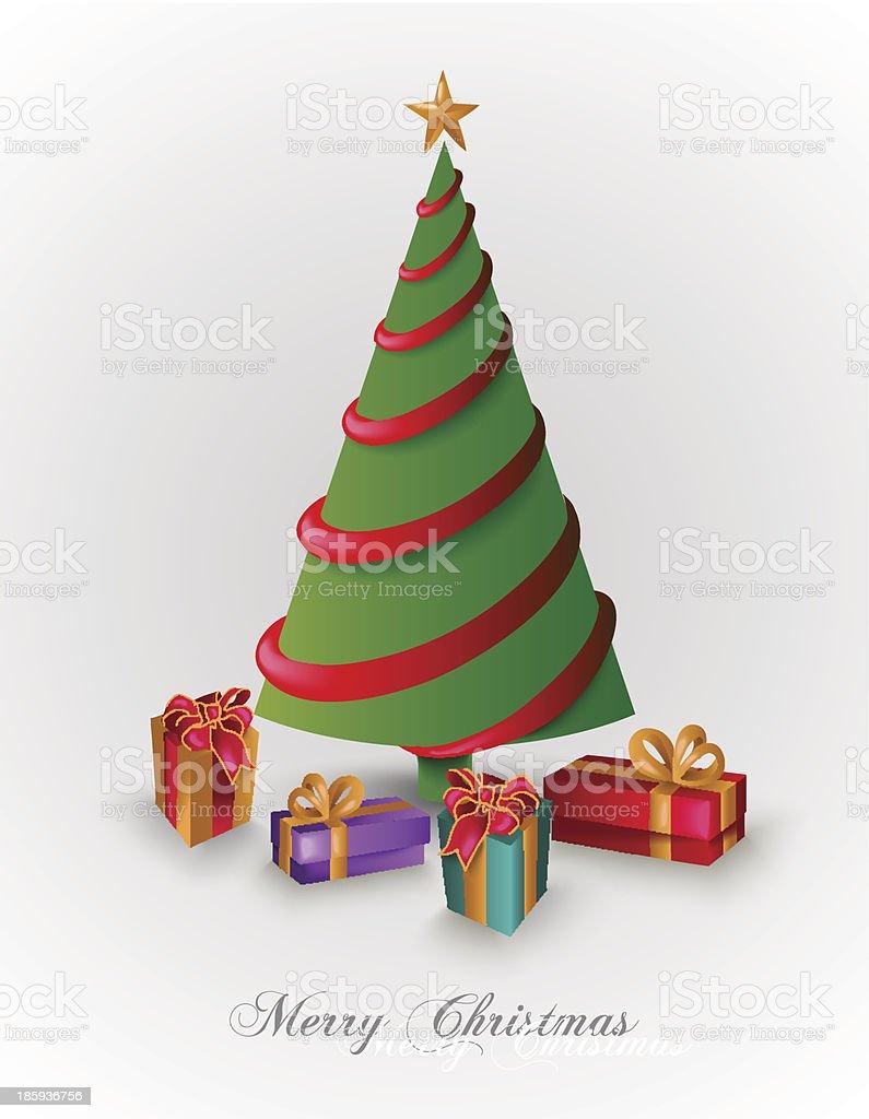 Merry Christmas pine tree greeting card royalty-free stock vector art