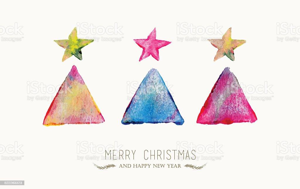 Merry Christmas pine tree watercolor greeting card vector art illustration