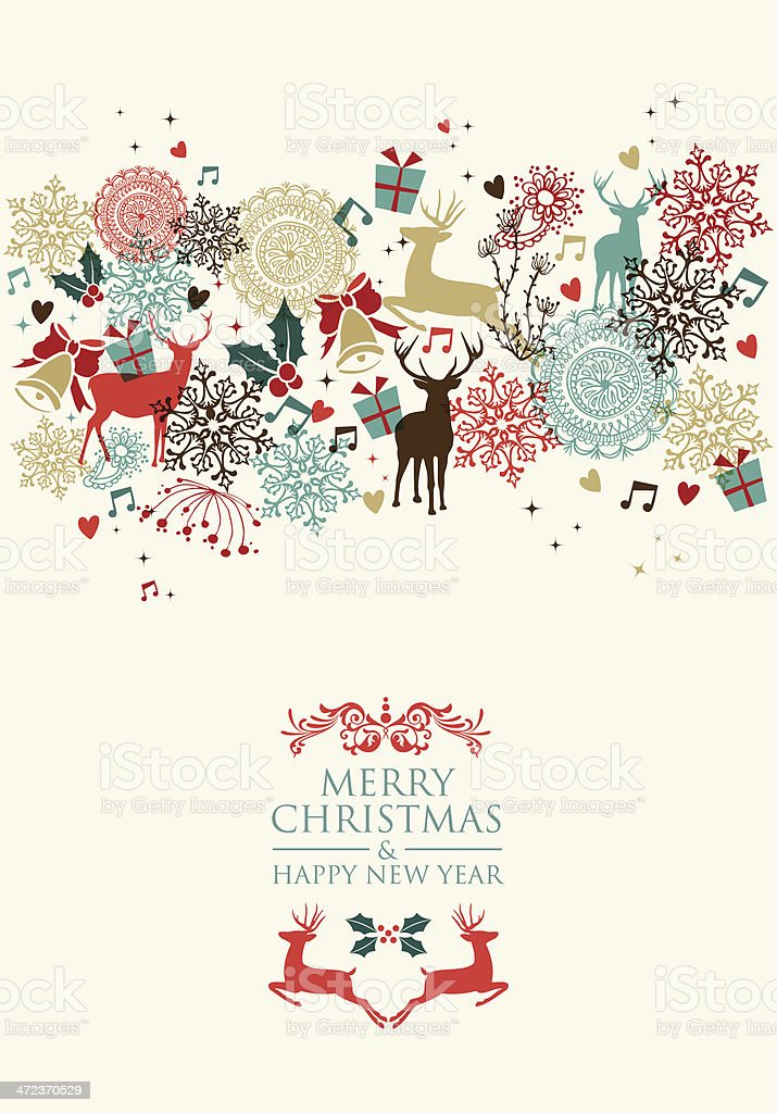 Merry Christmas postal card transparency vector art illustration