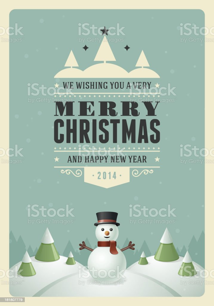Merry Christmas postcard with snowman and trees vector art illustration