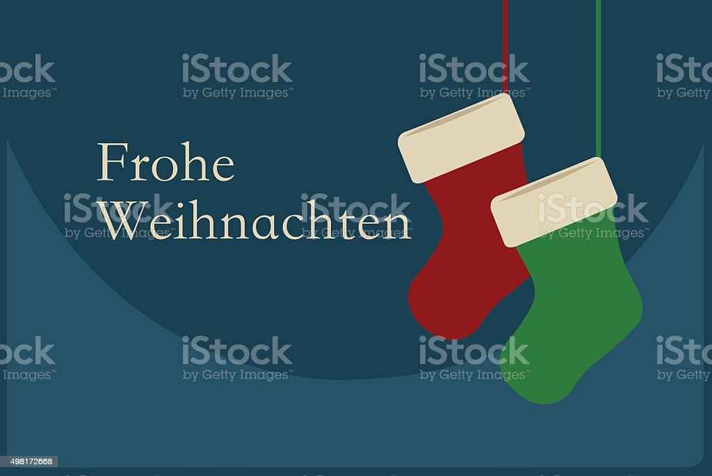 Frohe Weihnachten poster with Christmas Socks. Merry Christmas Germany! royalty-free stock vector art