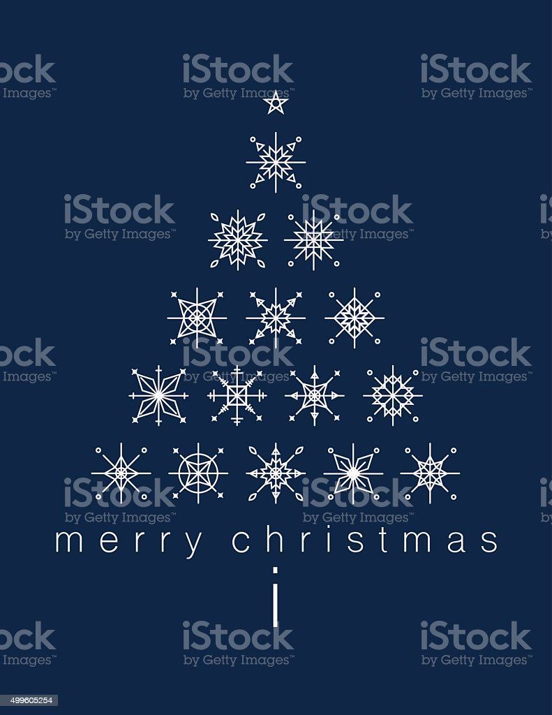 Merry Christmas Poster with Christmas tree made with sbowflakes royalty-free stock vector art