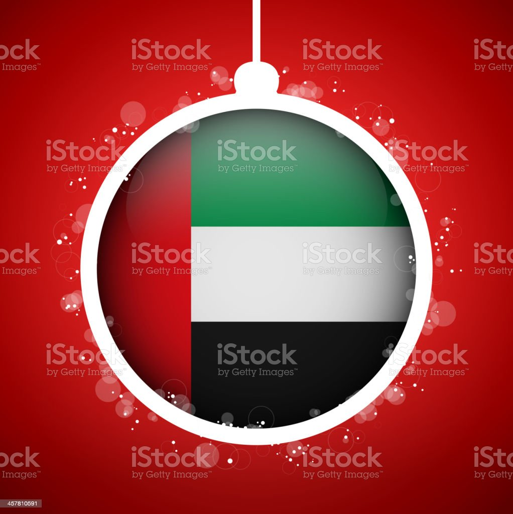 Merry Christmas Red Ball with Flag Emirates vector art illustration