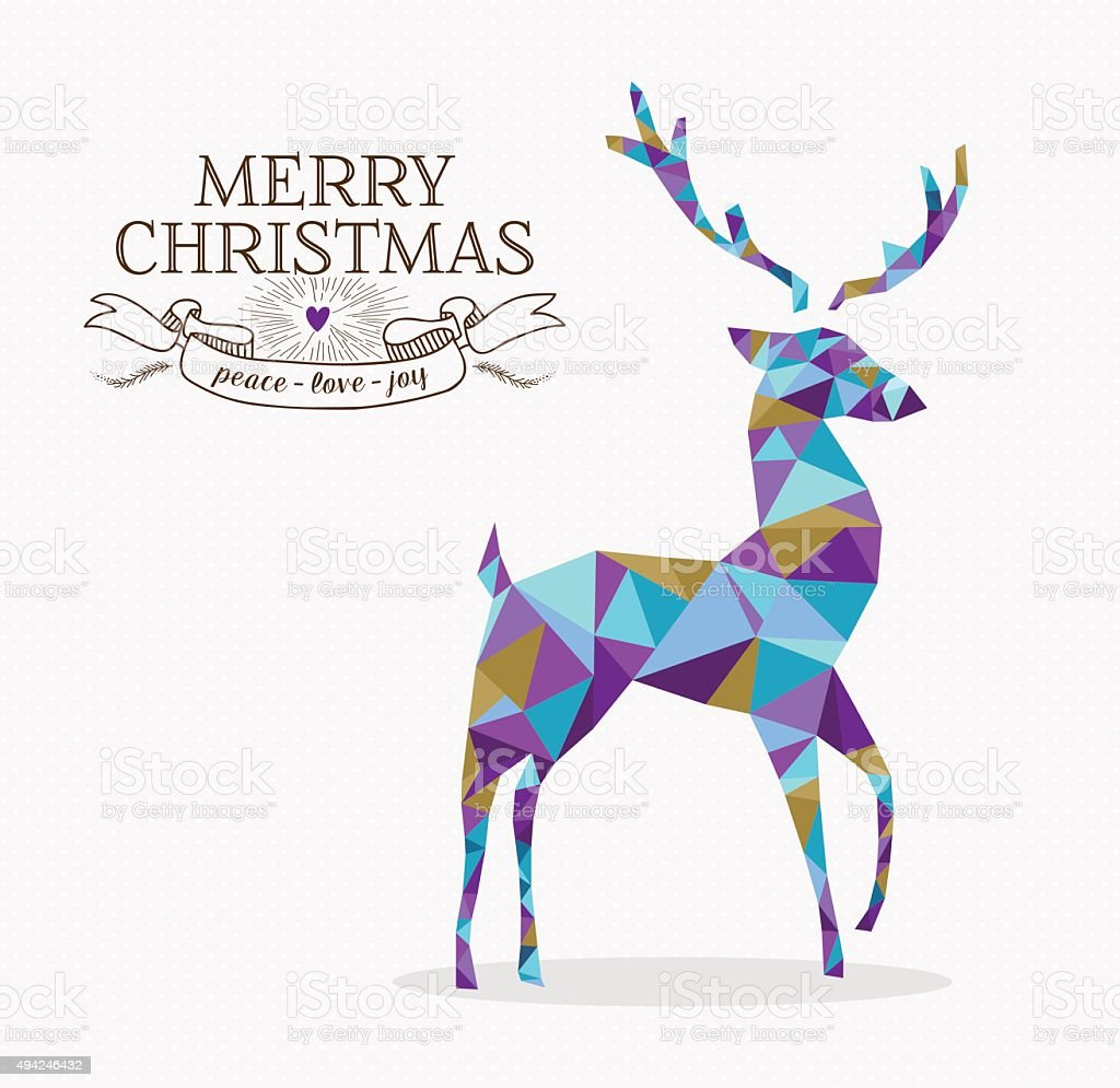 Merry christmas reindeer triangle hipster origami vector art illustration