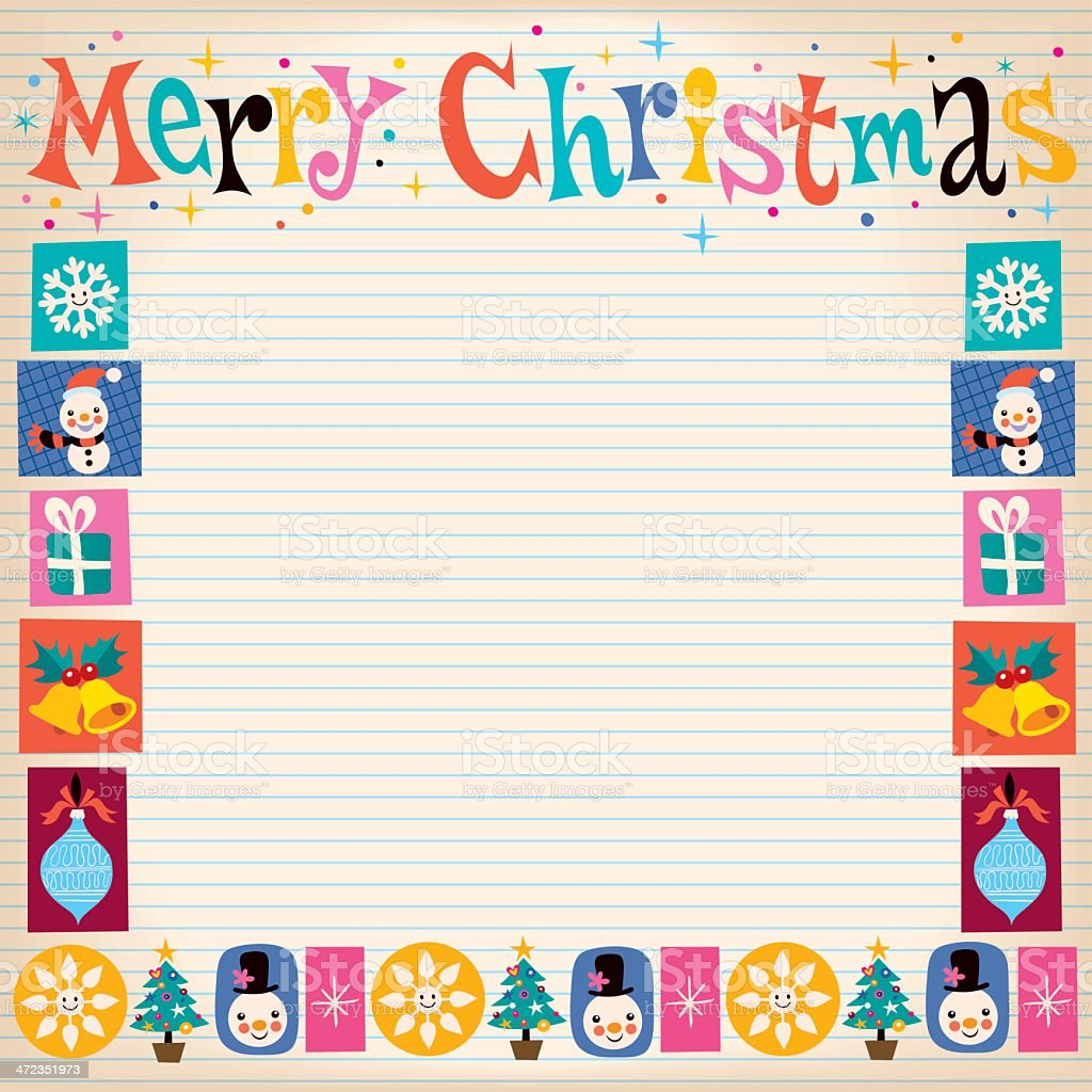 Merry Christmas retro greeting card with copy space royalty-free stock vector art
