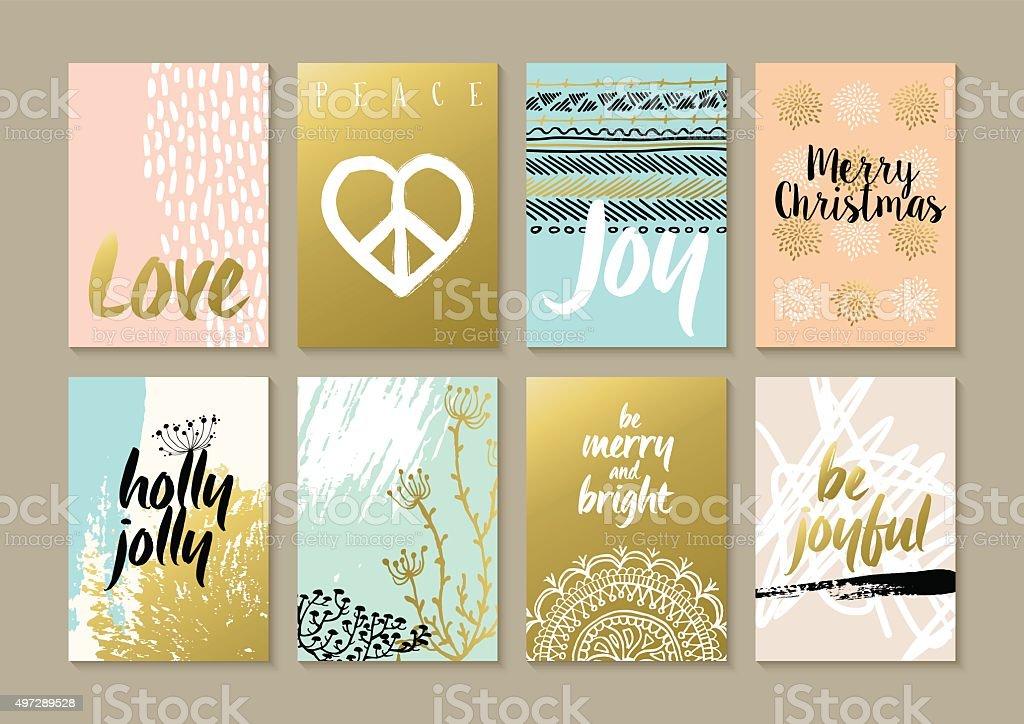 Merry christmas retro hipster boho hippie card set vector art illustration