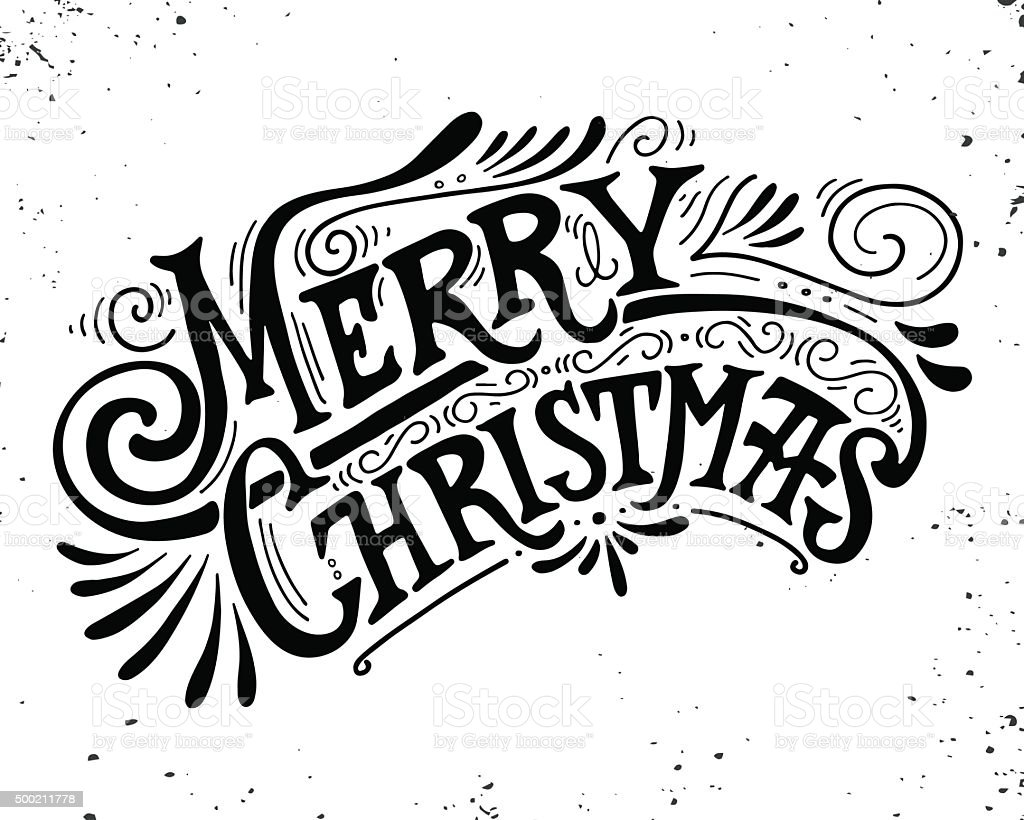 Merry Christmas retro poster with hand lettering vector art illustration