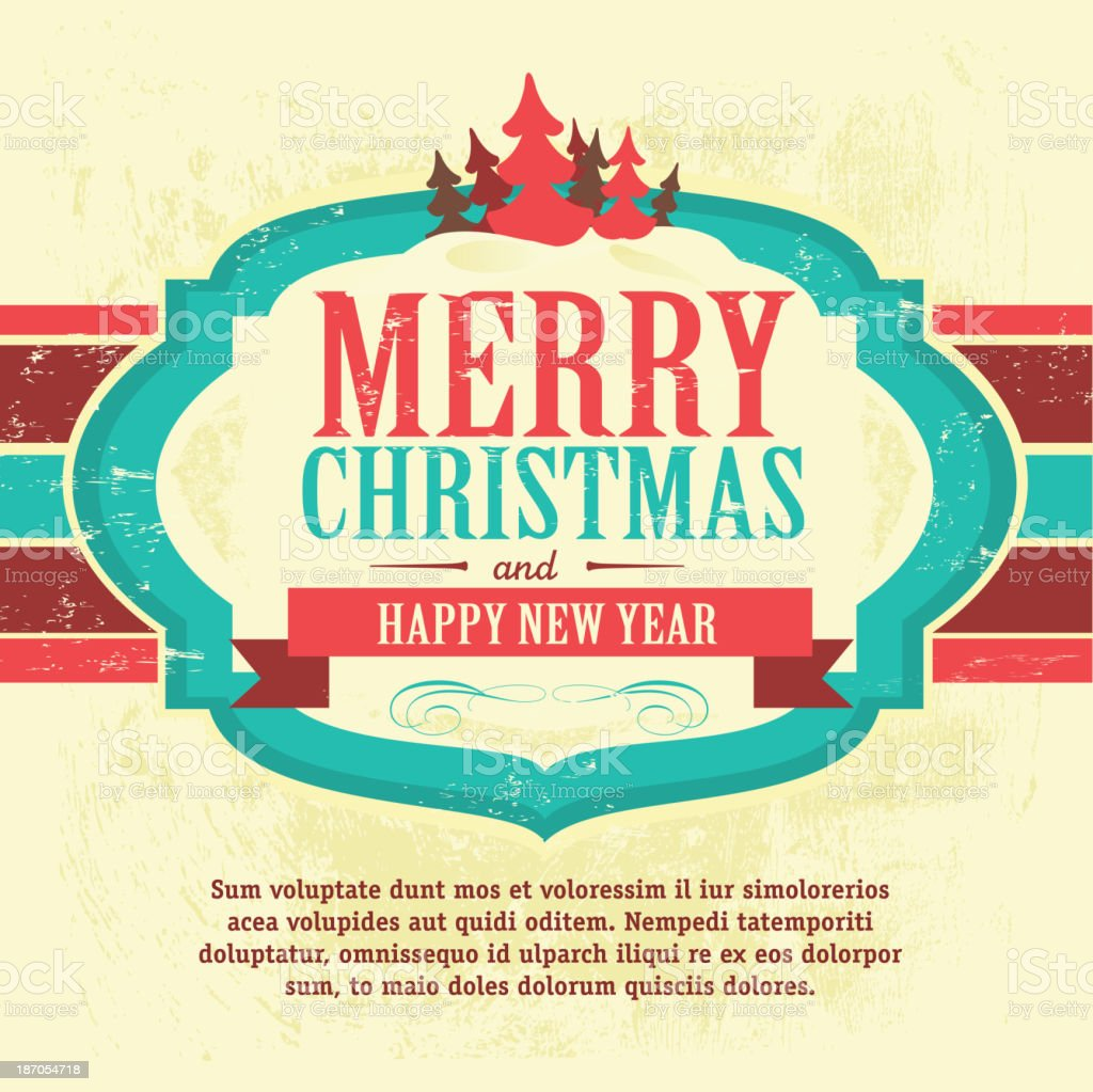 Merry Christmas retro revival greeting design template royalty-free stock vector art