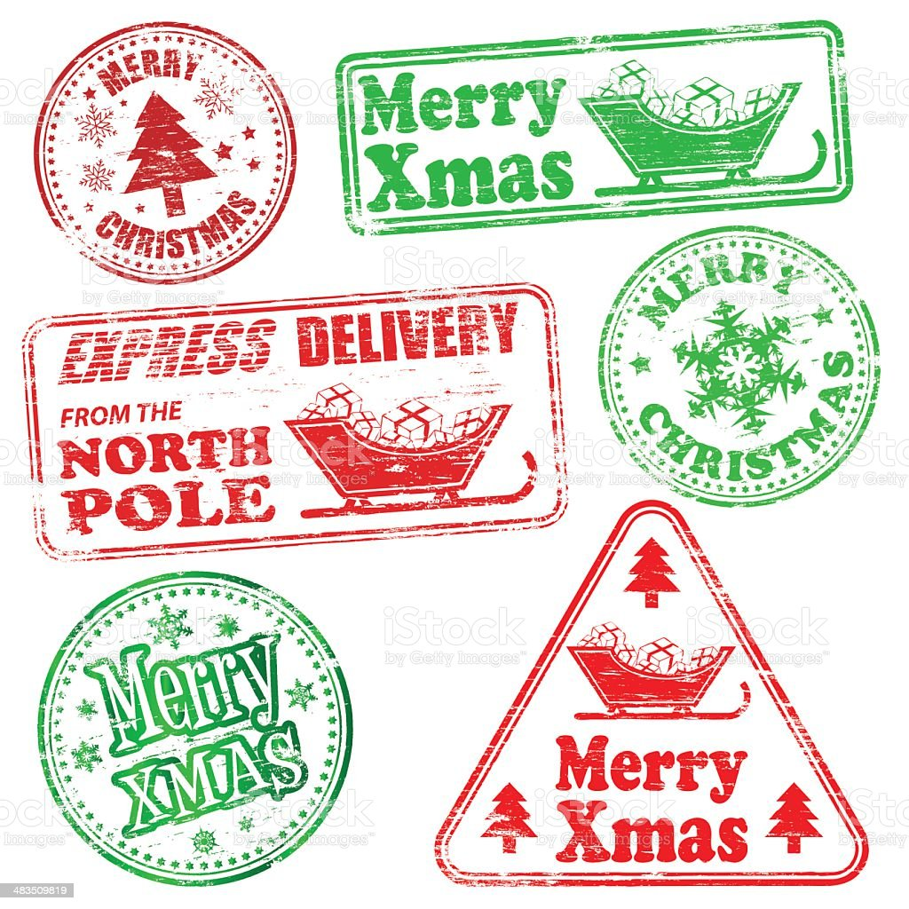 Merry Christmas Rubber Stamps royalty-free stock vector art