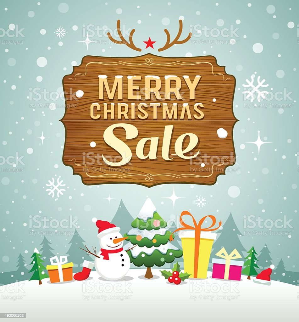 Merry Christmas sale concept with wood board on snow vector art illustration