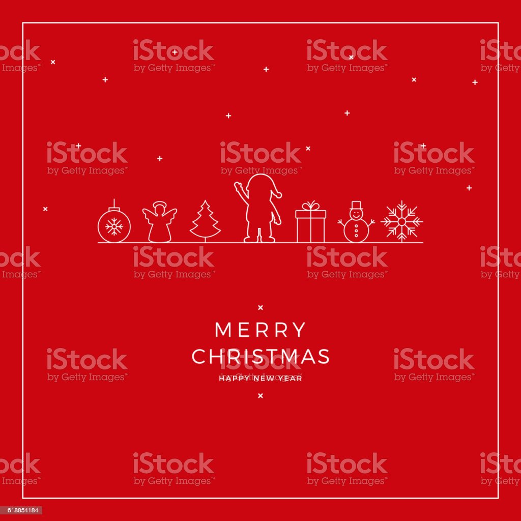 merry christmas santa card red background vector art illustration