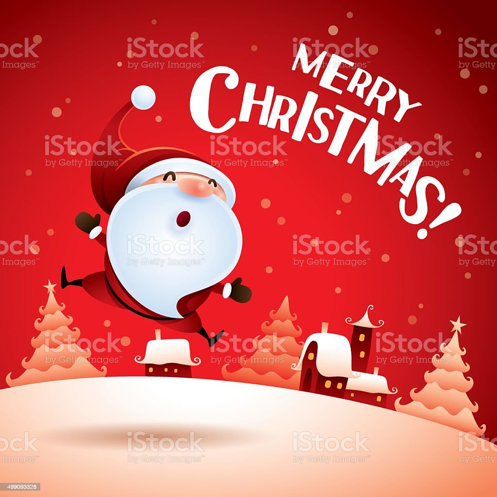 Merry Christmas! Santa Claus feeling excited. vector art illustration