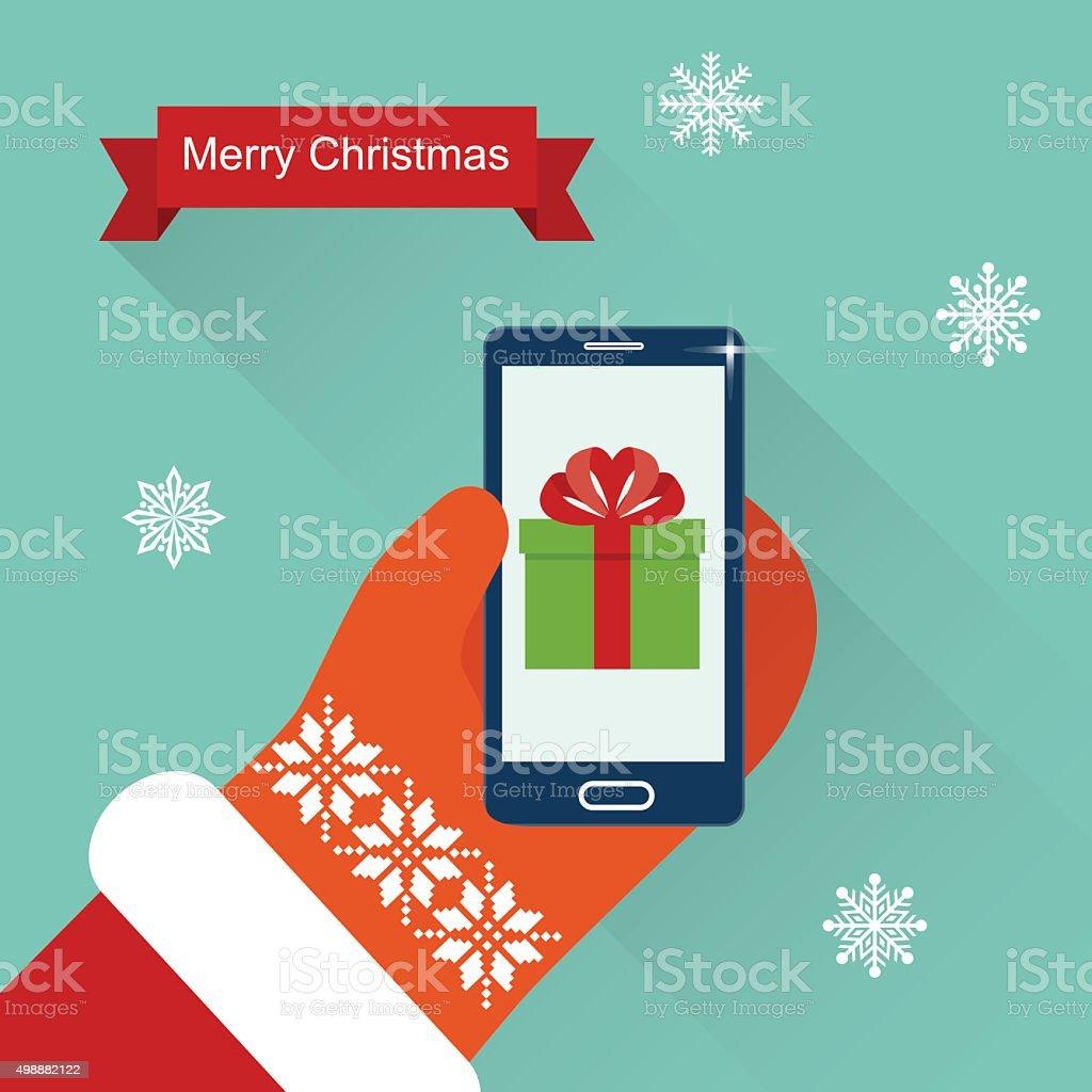 Merry Christmas Santa Claus Hands.Flat Vector Illustration vector art illustration