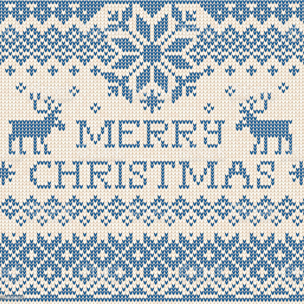 Merry Christmas: Scandinavian or russian style knitted embroider vector art illustration