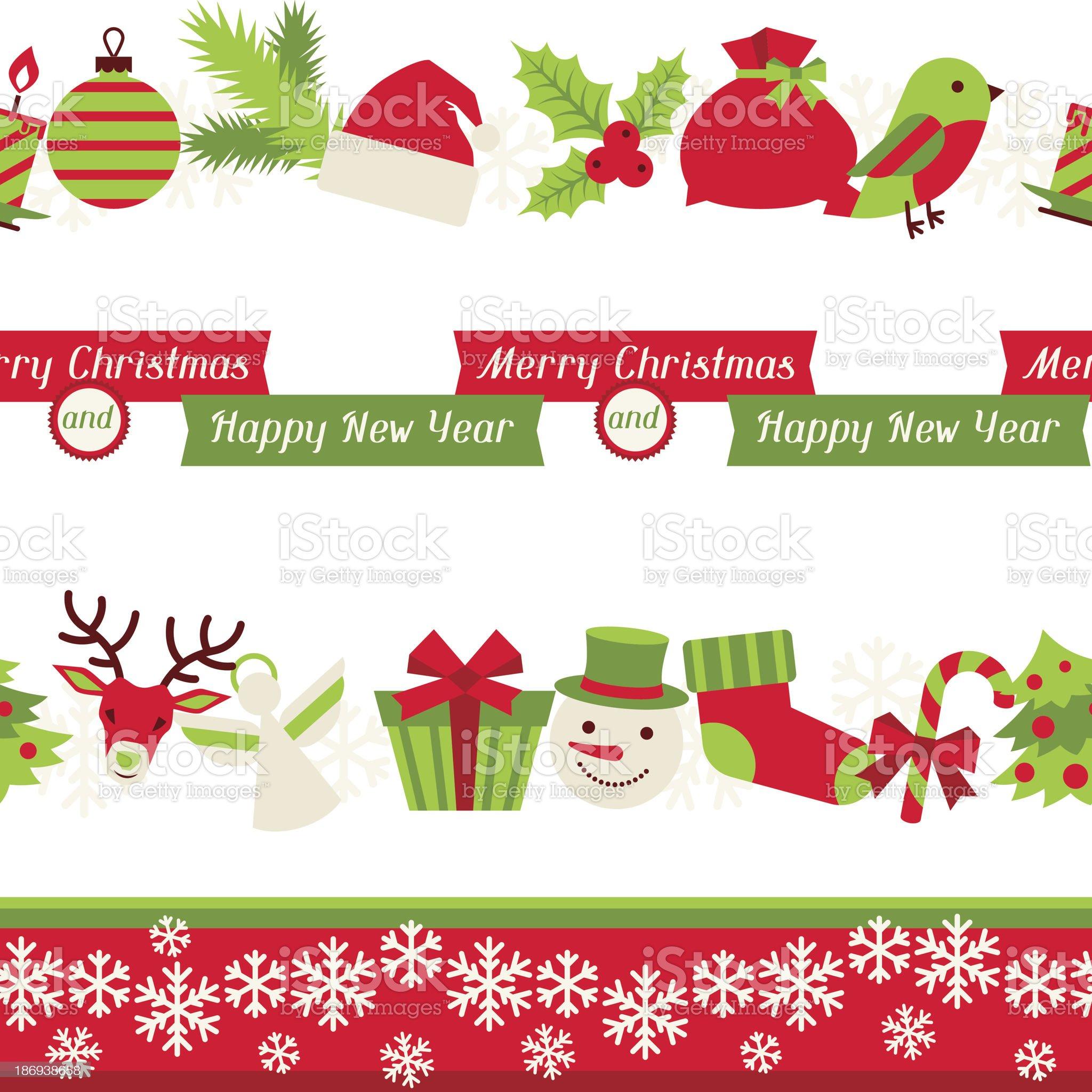 Merry Christmas seamless borders. royalty-free stock vector art
