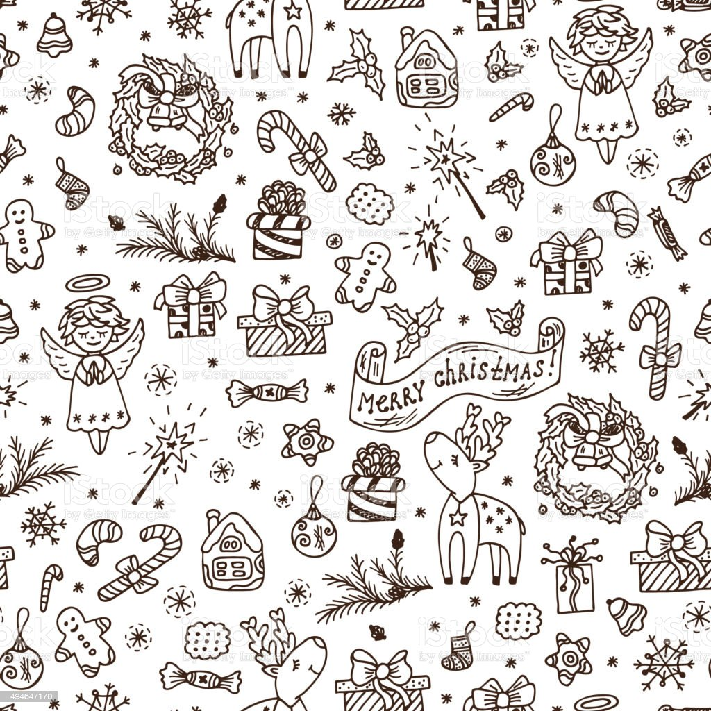 Merry Christmas seamless pattern. Holiday background. Hand Drawn Doodles illustration. vector art illustration