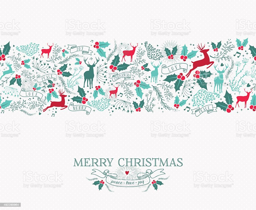 Merry christmas seamless pattern reindeer holly vector art illustration