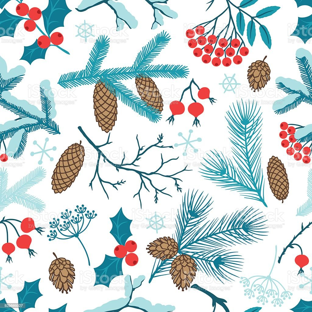 Merry Christmas seamless pattern with winter branches. vector art illustration