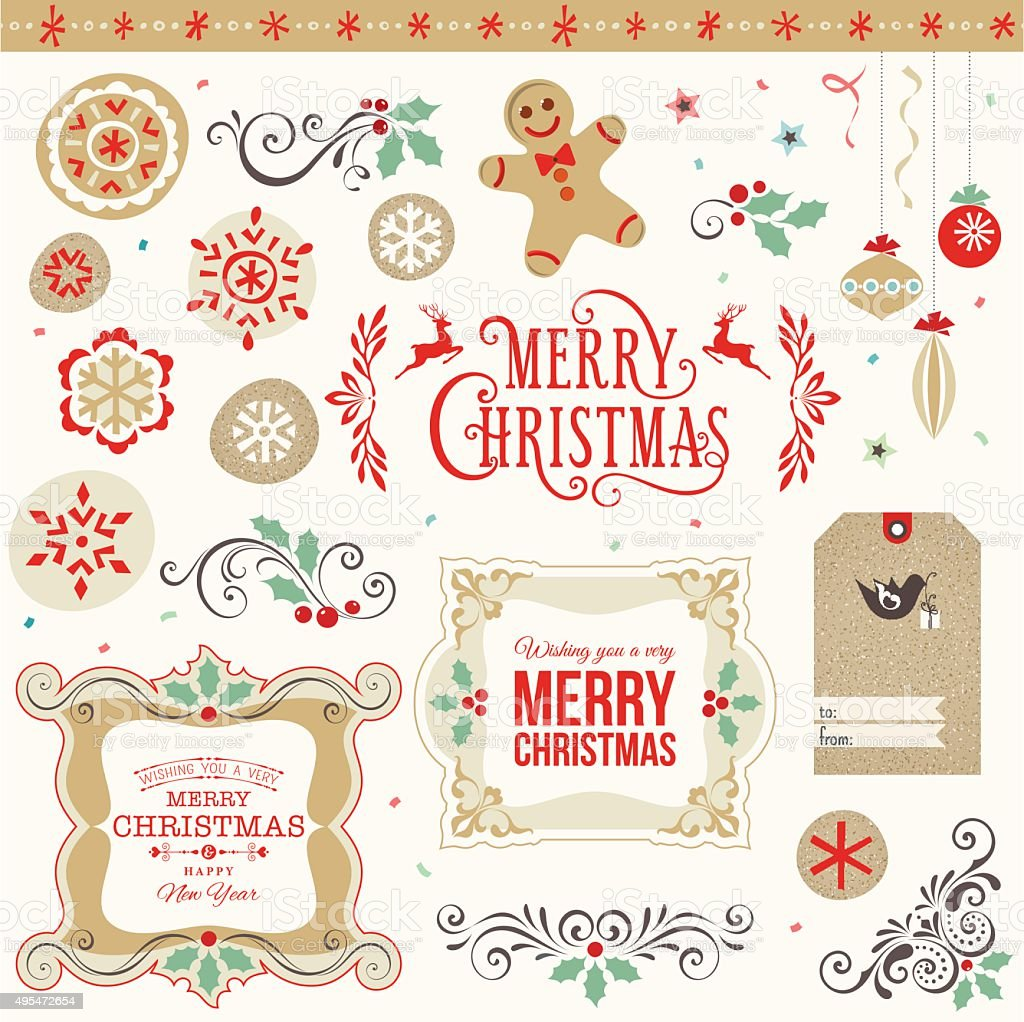 Merry Christmas Set vector art illustration