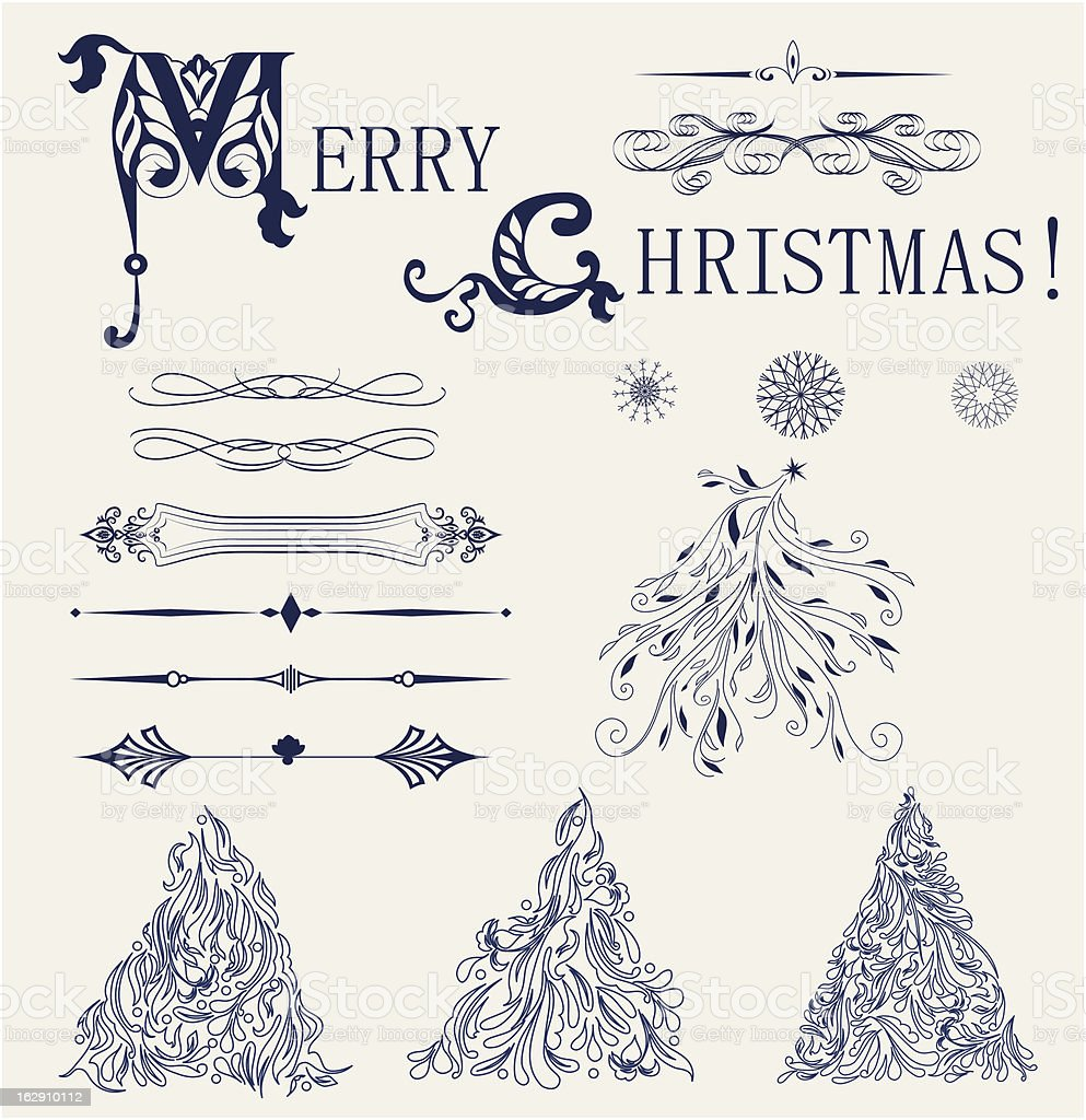 Merry Christmas set vector royalty-free stock vector art
