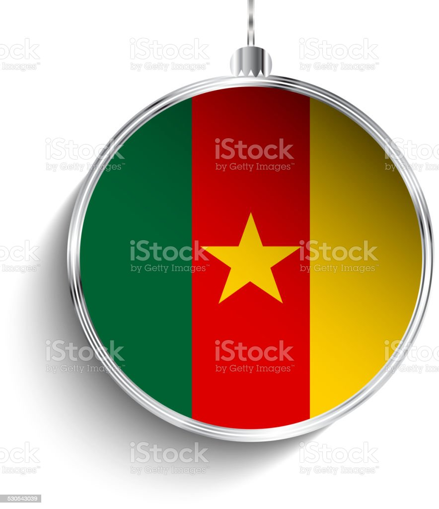 Merry Christmas Silver Ball with Flag Cameroon vector art illustration