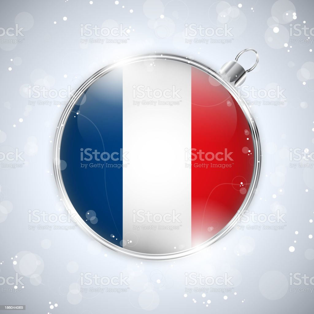 Merry Christmas Silver Ball with Flag France royalty-free stock vector art