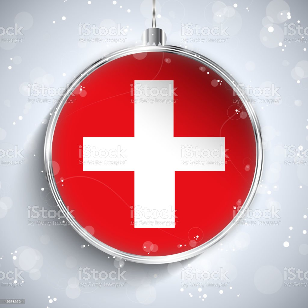 Merry Christmas Silver Ball with Flag Switzerland vector art illustration