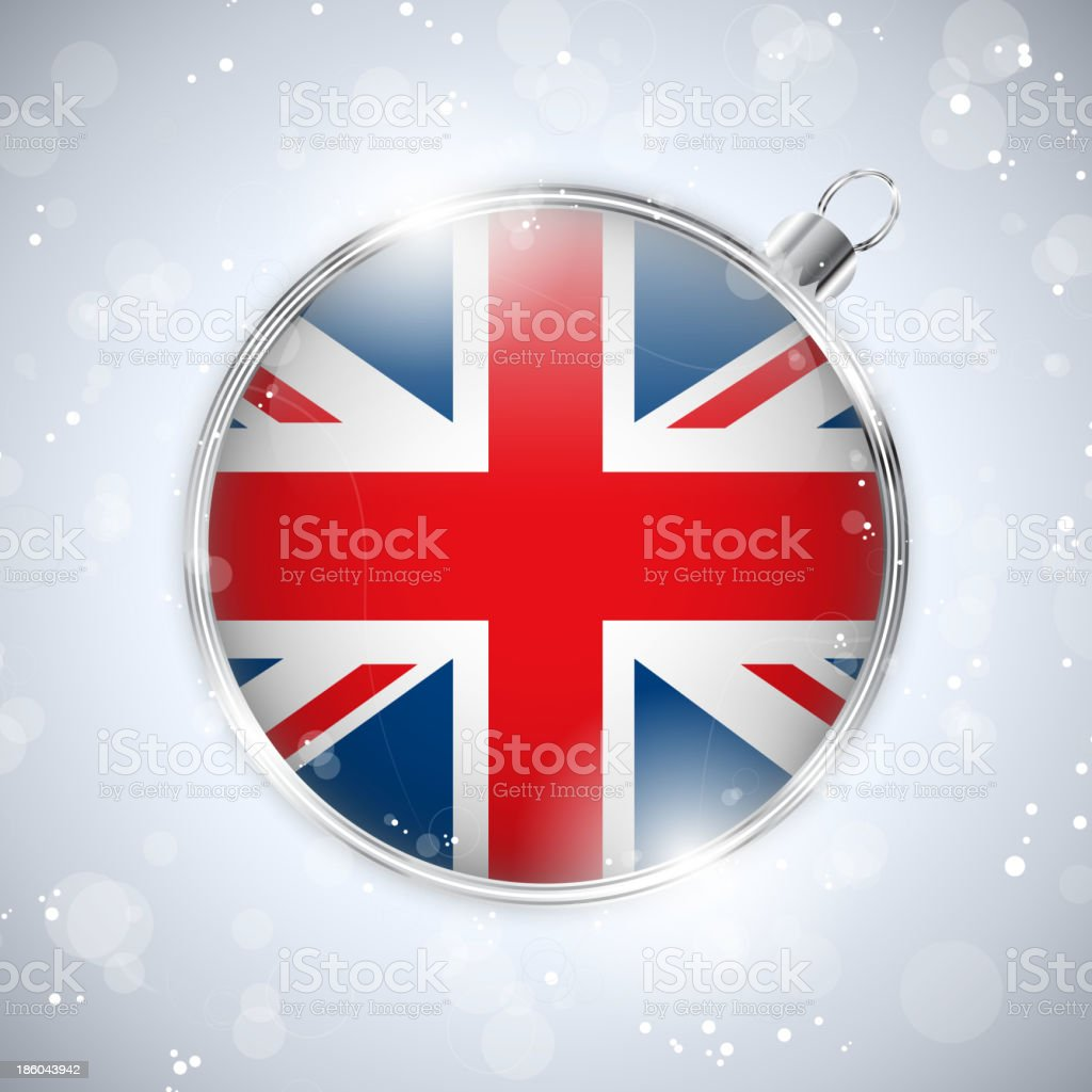 Merry Christmas Silver Ball with Flag United Kingdom UK royalty-free stock vector art
