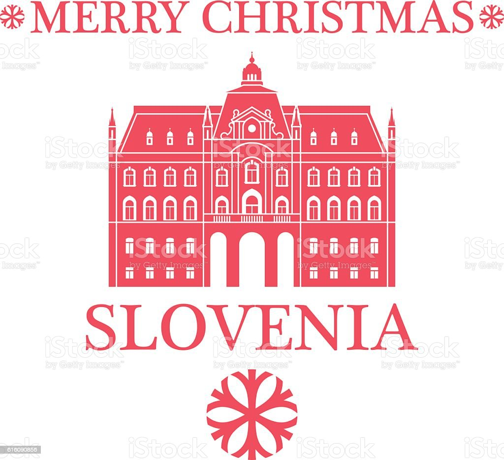 Merry Christmas  Slovenia vector art illustration
