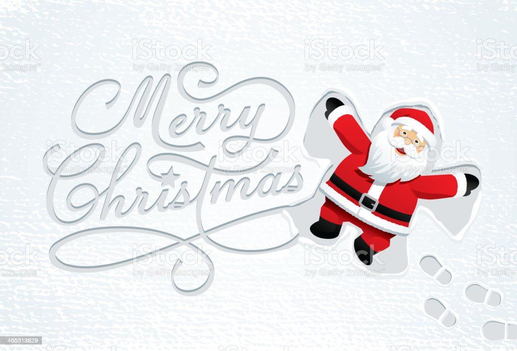 Merry Christmas snow angel vector art illustration
