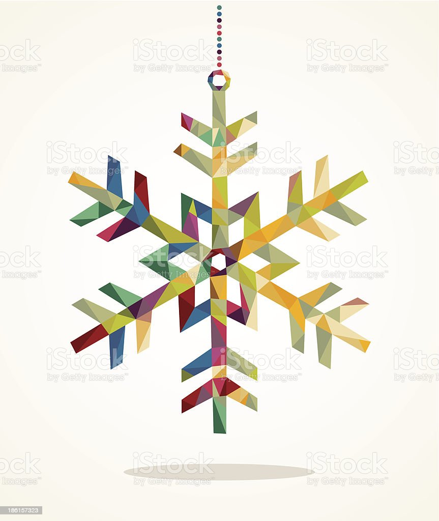 Merry Christmas snowflake shape with triangle composition EPS10 file royalty-free stock vector art