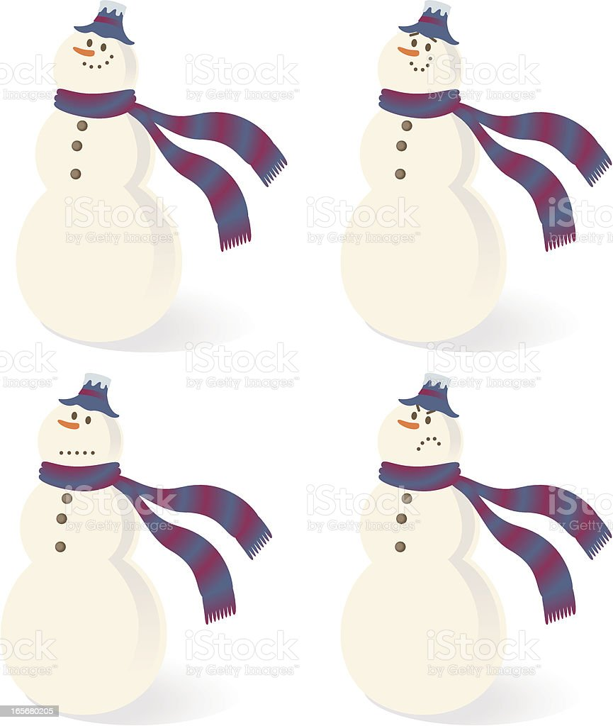 Merry Christmas, Snowman with hat, carrot nose and scarf vector art illustration