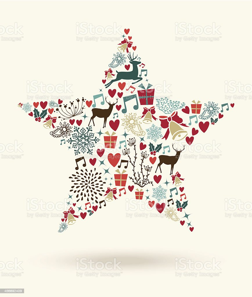 Merry Christmas star shape illustration royalty-free stock vector art
