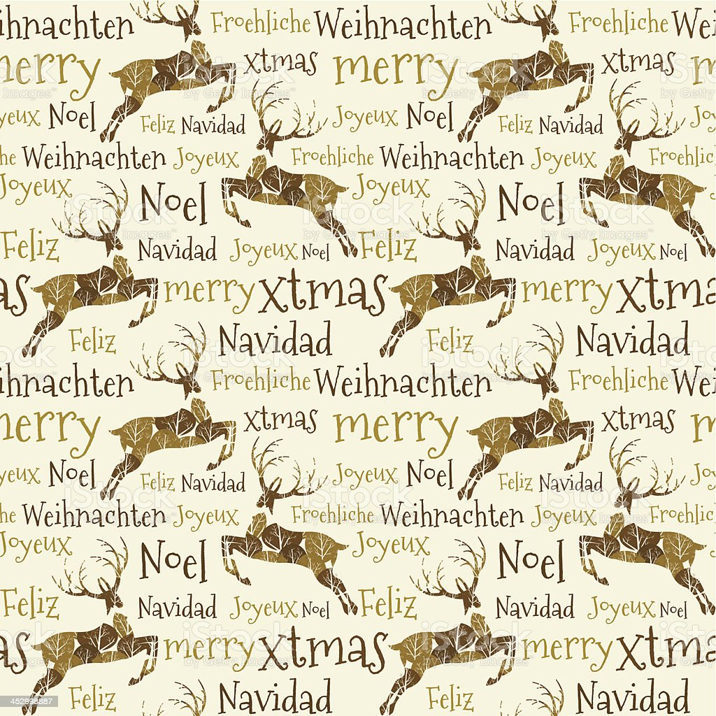 Merry Christmas text reindeer seamless pattern background royalty-free stock vector art